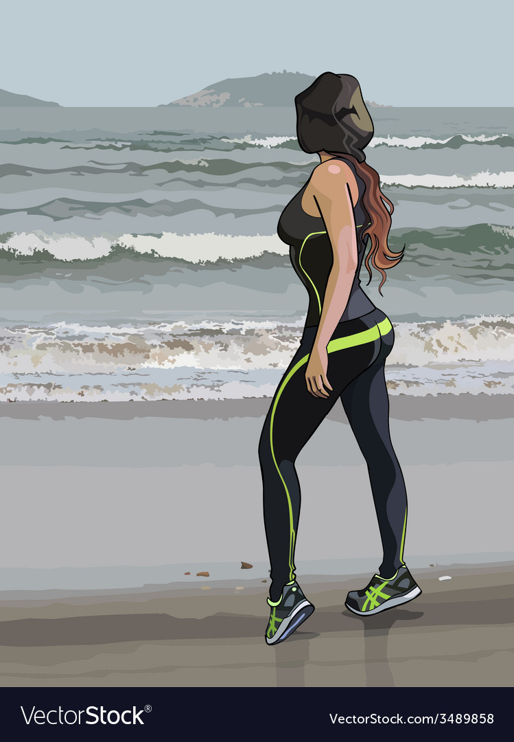 Woman in fitness wear on the seafront