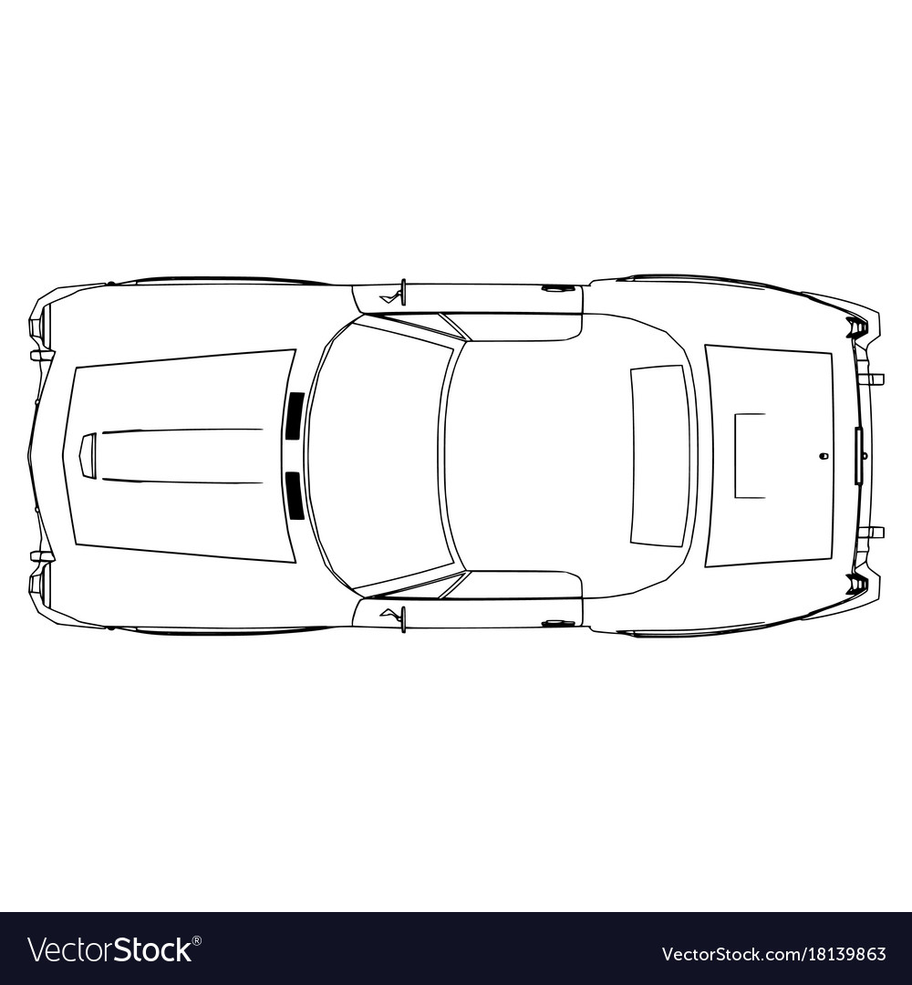 Car icon outline silhouette auto symbol line vector image