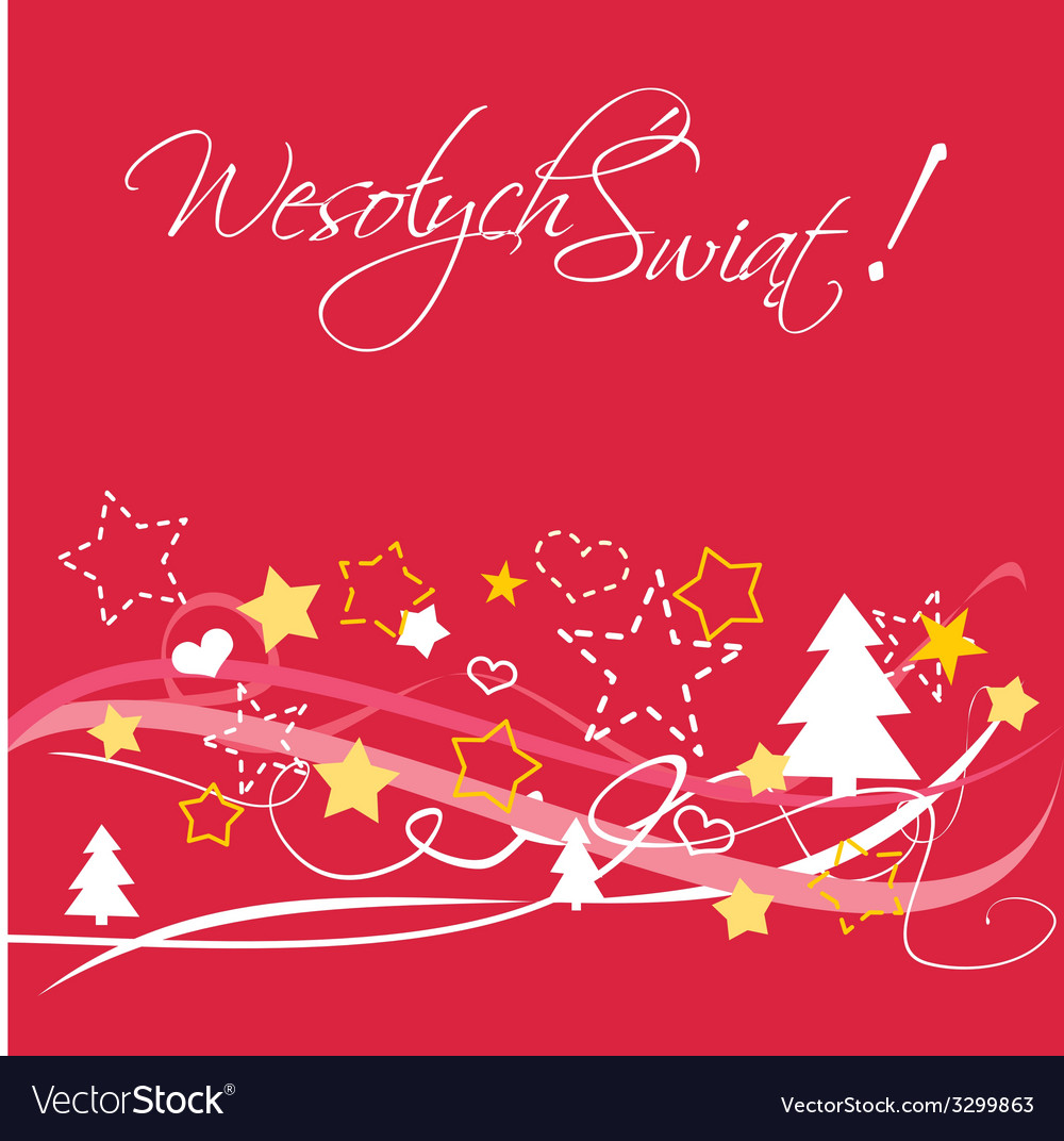 Christmas card with polish wishes Royalty Free Vector Image