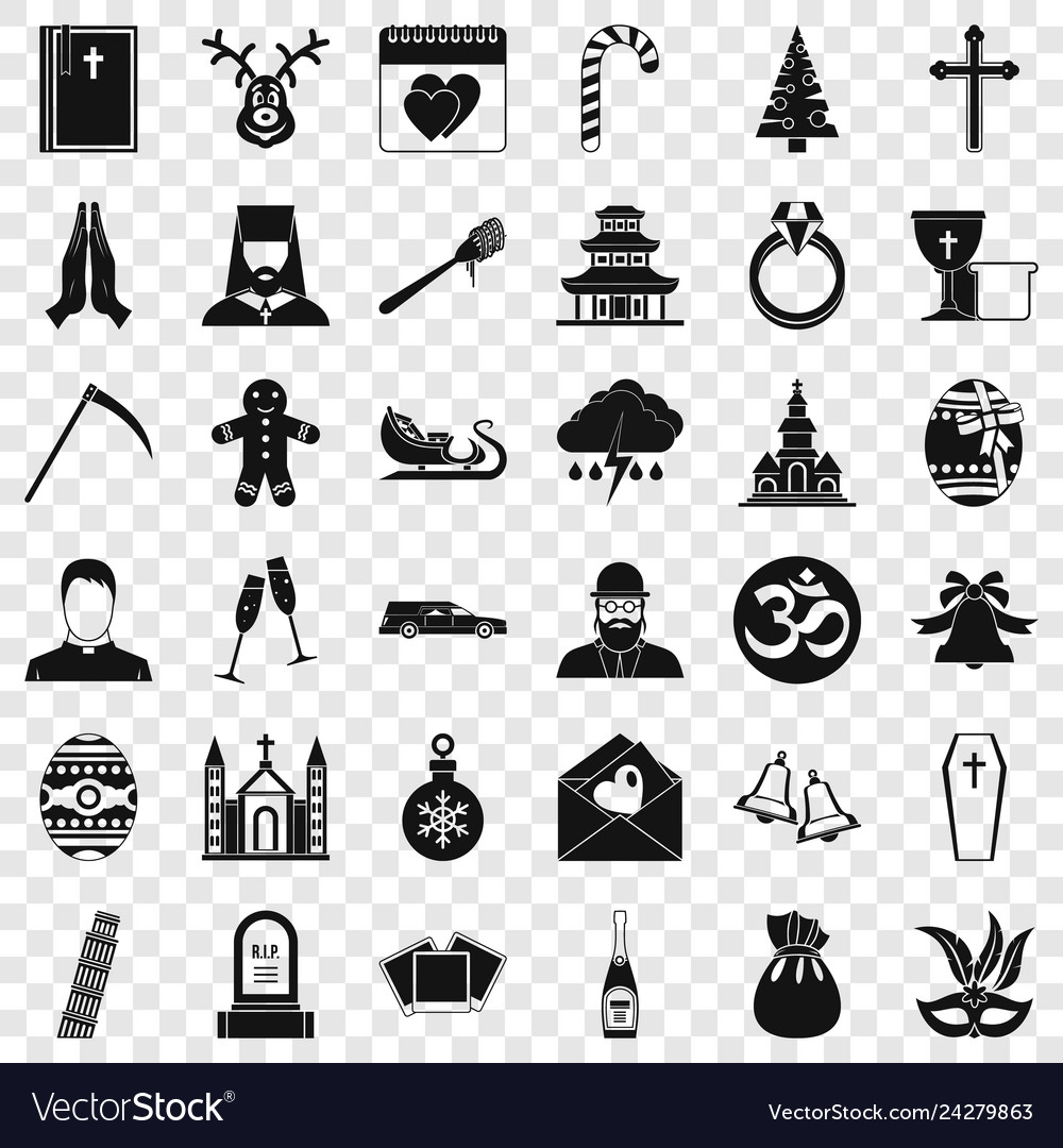 Church icons set simple style