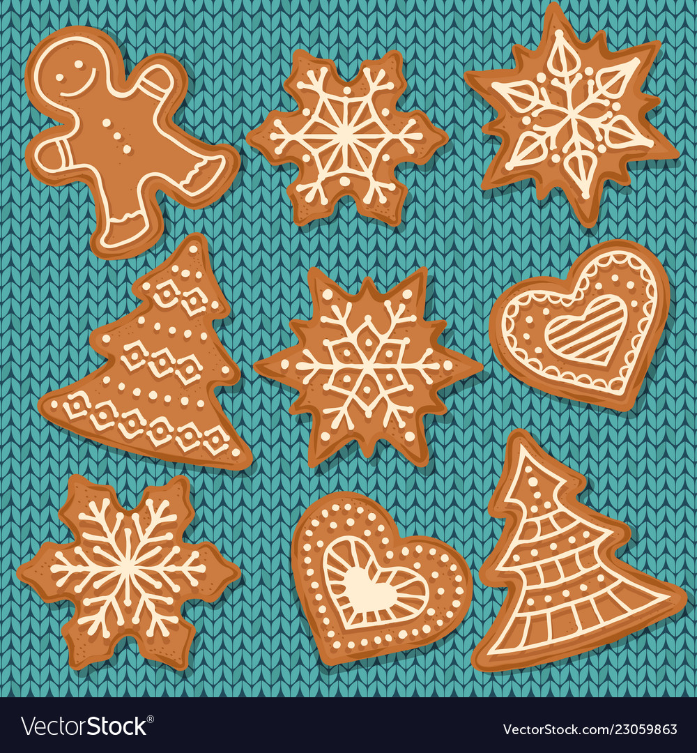Cute gingerbread elements isolated on knitted