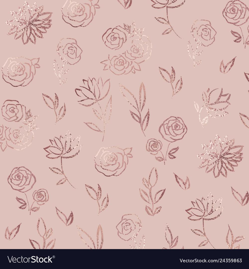 Flower Pattern Rose Gold Elegant Background With Vector Image