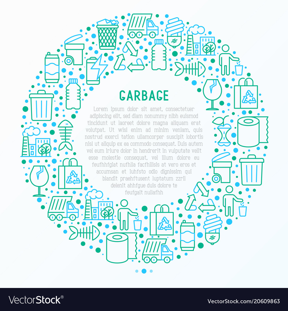 Garbage concept in circle with thin line icons