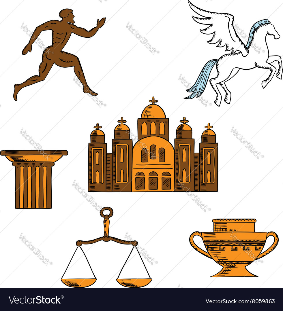 Greek mythology art and religion icons vector image
