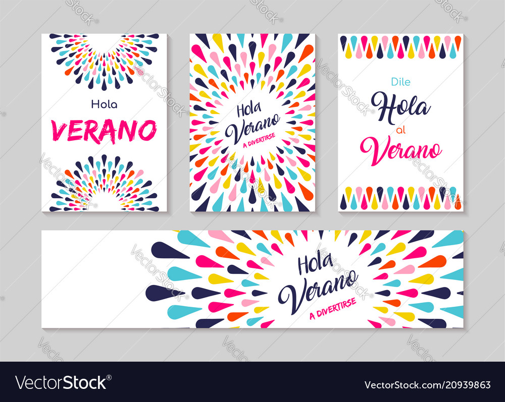 Hello summer spanish greeting card label set vector image m4hsunfo