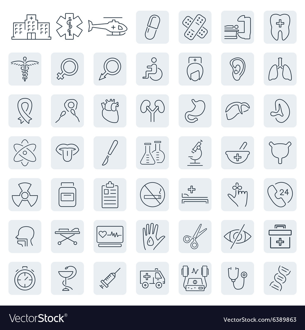 Medical related icon set in thin line style
