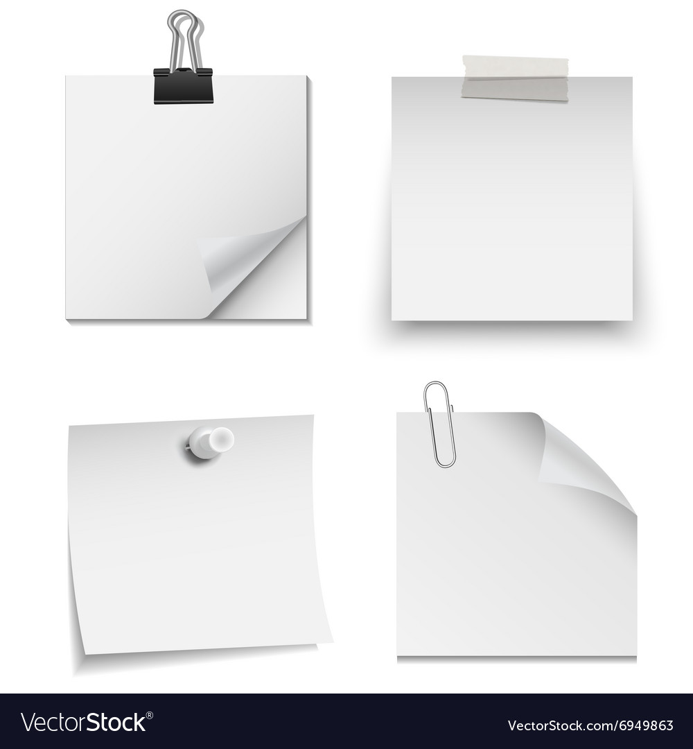 Set of white paper notes