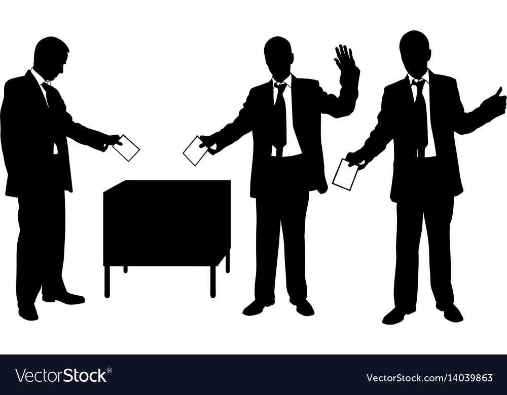 Silhouettes of men voting