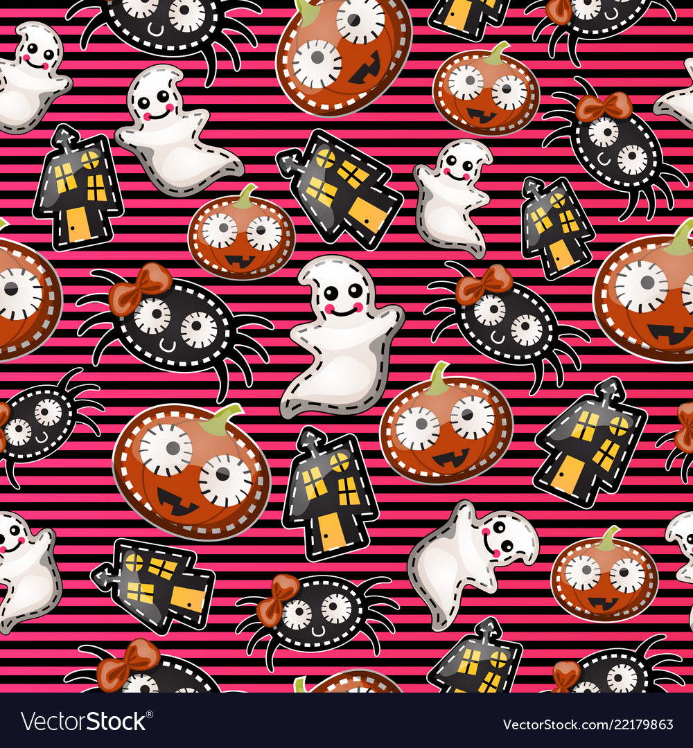 Texture of cute characters halloween holiday