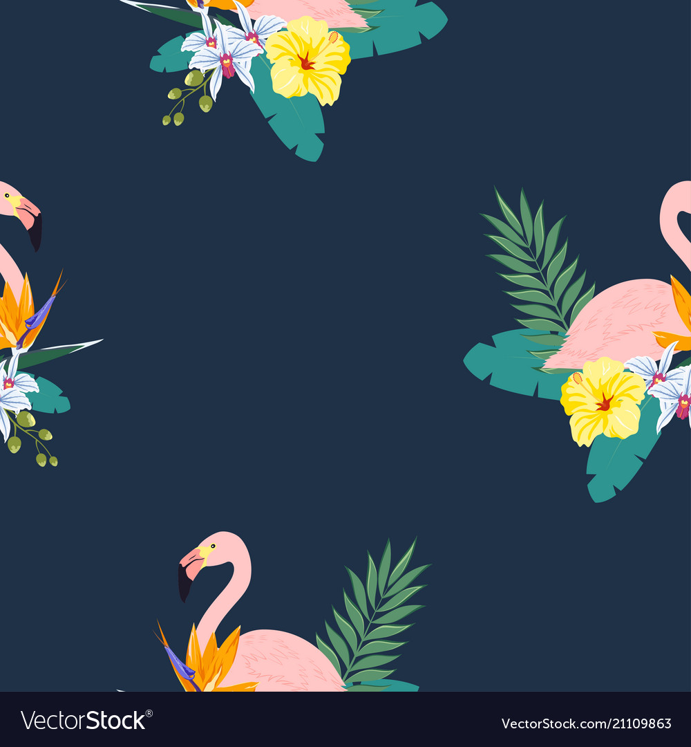 Tropical flamingo pattern vector image