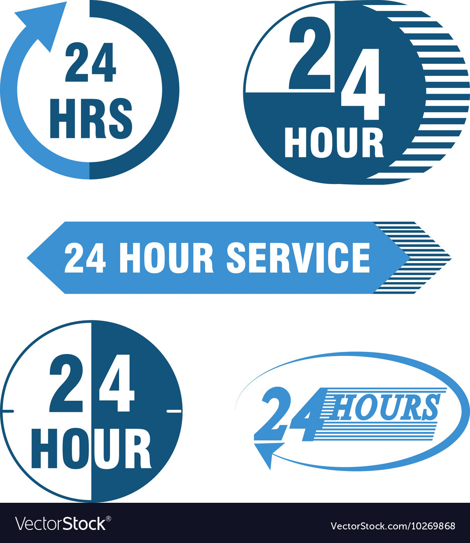 24 hours service logo and icon