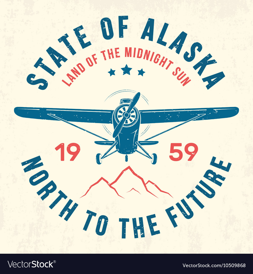 Alaska t shirt with old airplane and mountains