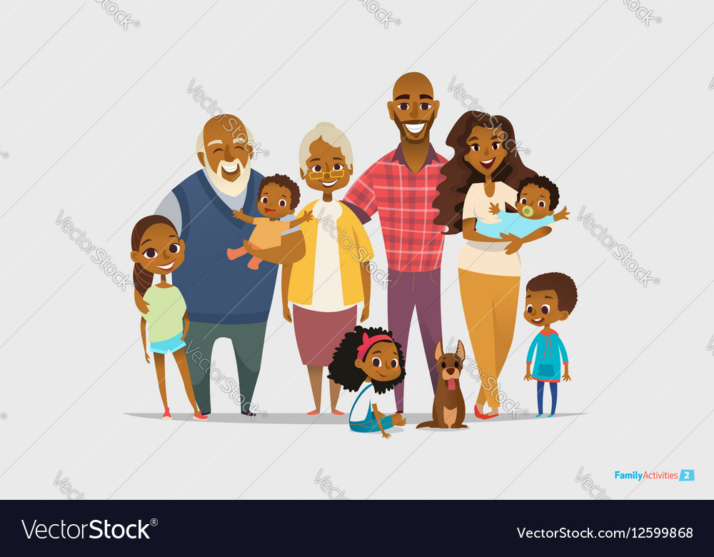 Big happy family portrait Three generations vector image