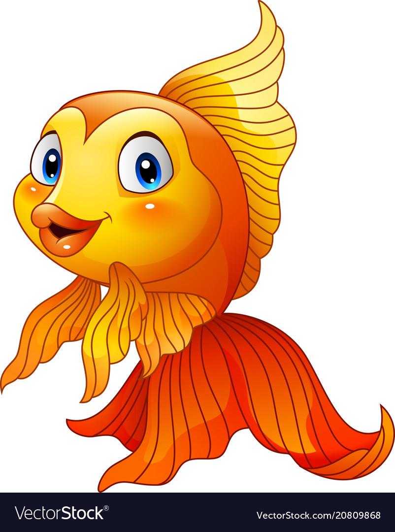 Cartoon cute goldfish Royalty Free Vector Image