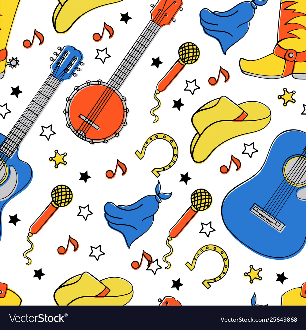 Country instruments seamless pattern
