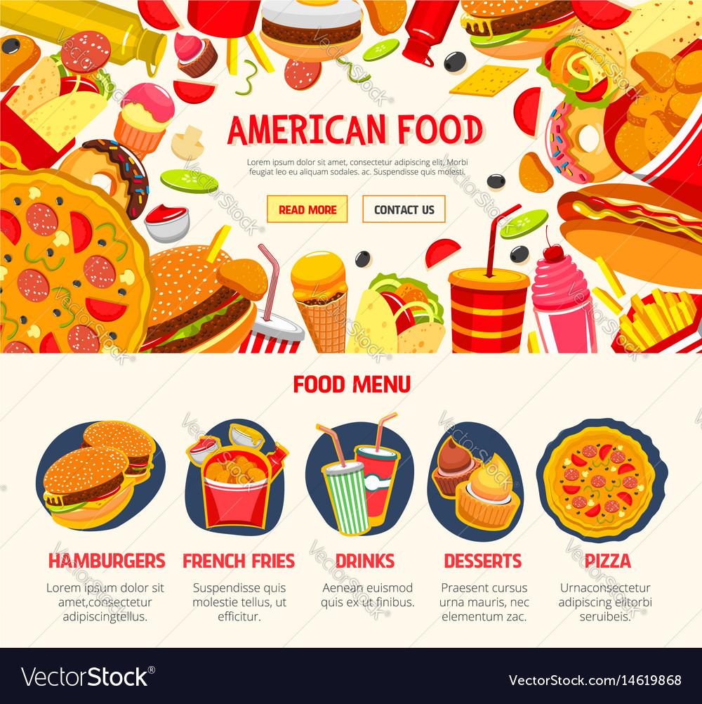 Fast food restaurant menu banner template vector image