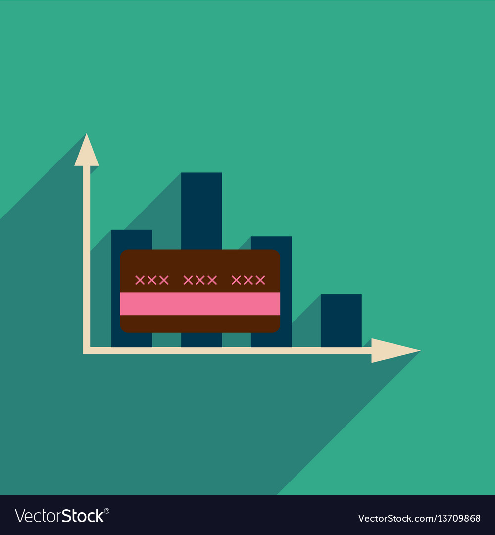 Flat web icon with long shadow graph