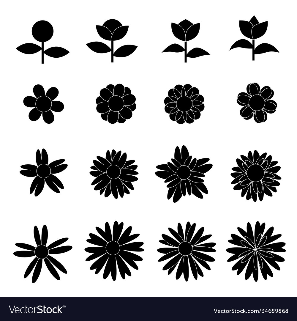 Flower icon collection on white background