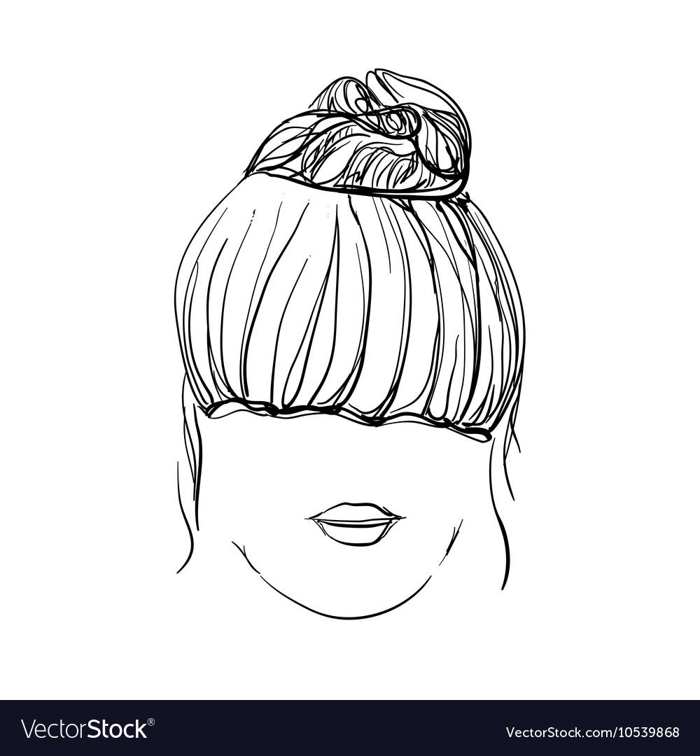 Girl with messy bun vector image
