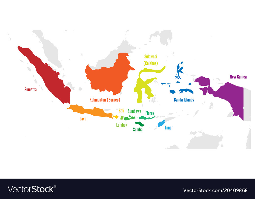 Main islands of indonesia map with names Vector Image