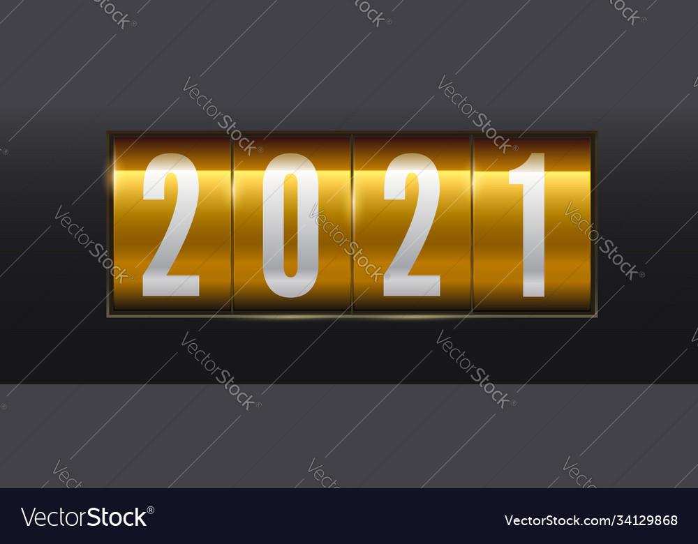 New year golden scoreboard numbers 2021
