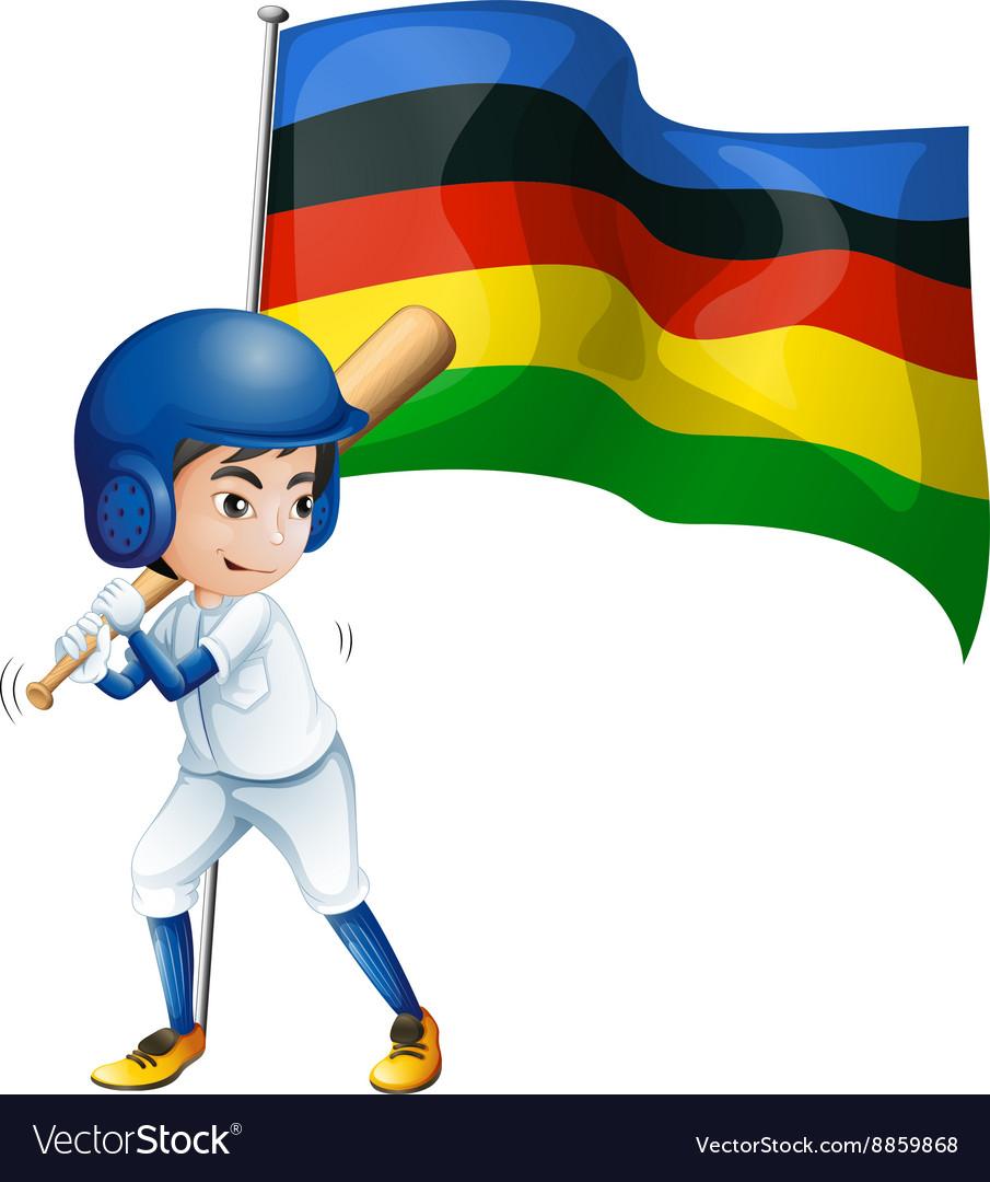 Olympic flag and baseball player