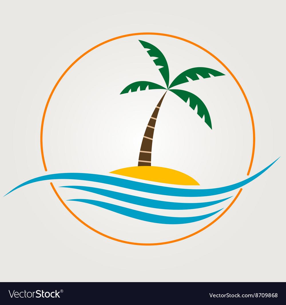 Palm trees silhouette on island