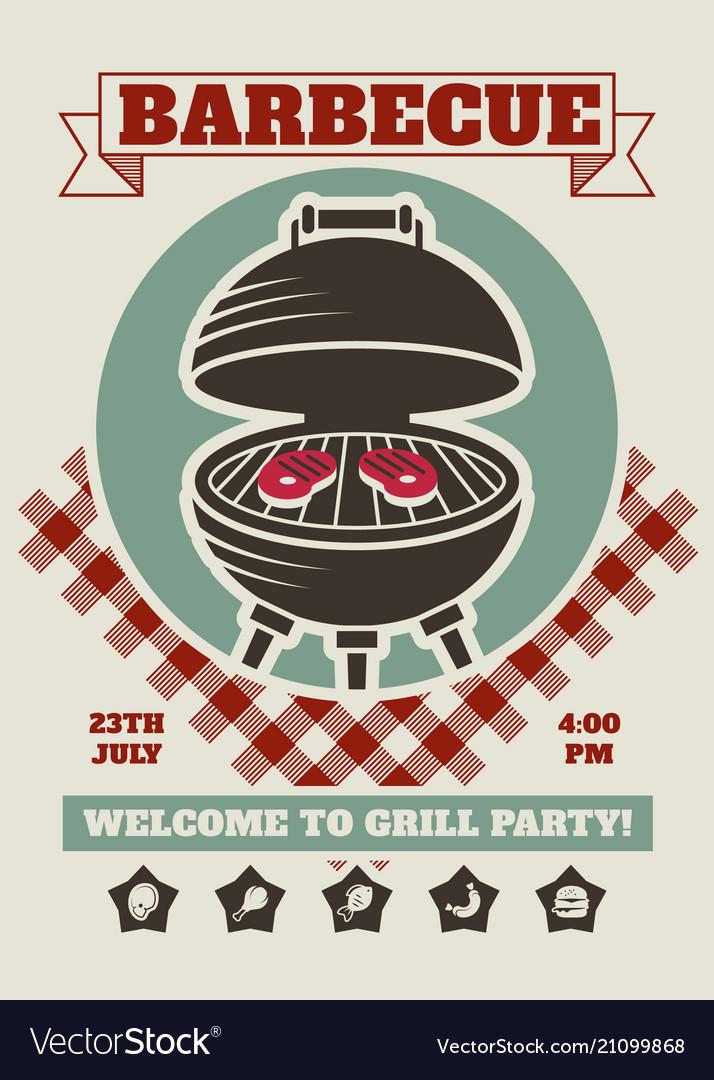 Retro barbecue party restaurant invitation vector image stopboris Images