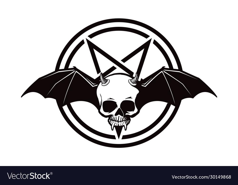 Scary halloween demon skull icon