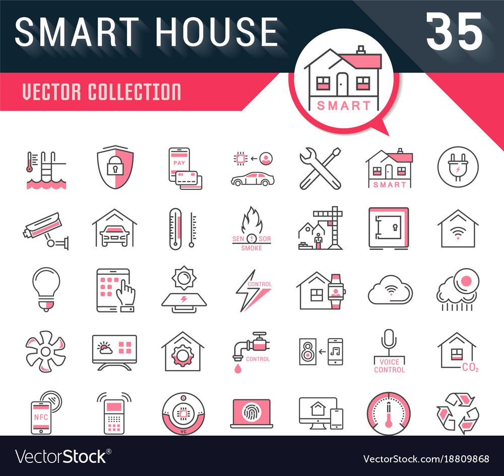 Set flat line icons smart house