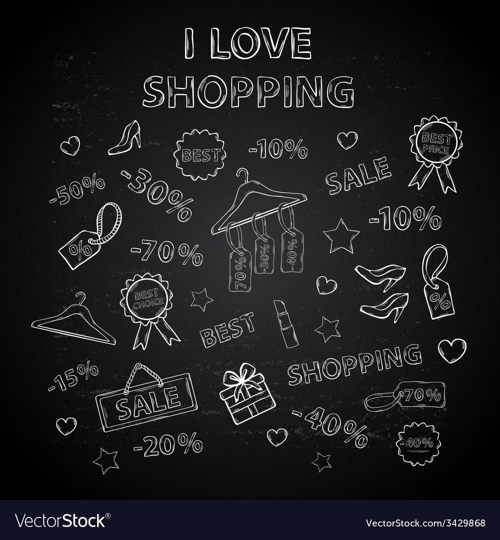 Shopping set with thematic elements on a Chalk