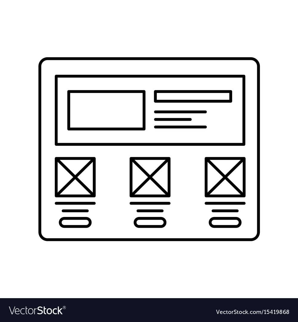 Wireframe in screen lined icon website page in