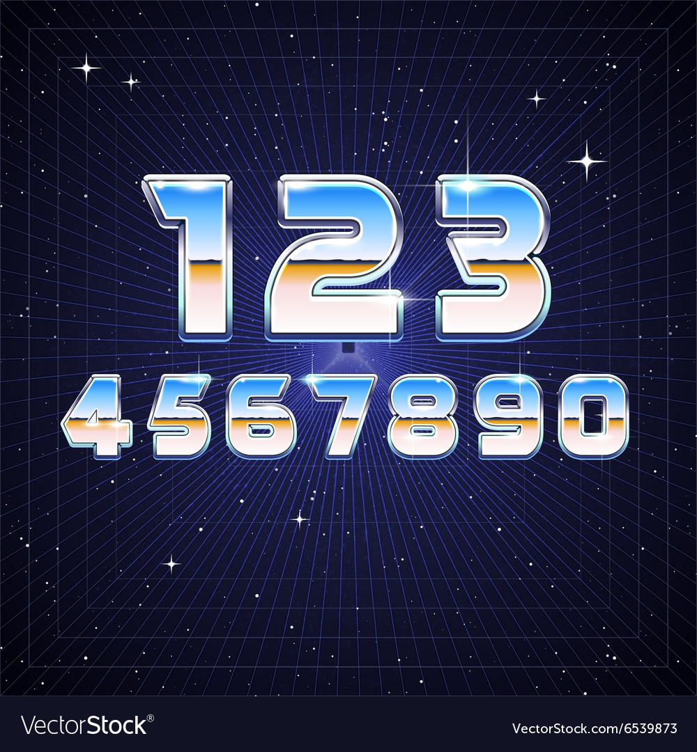 80s Retro Sci Fi Numbers Royalty Free Vector Image