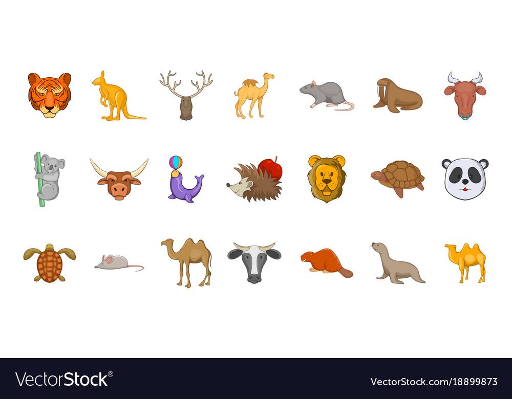 Animals icon set cartoon style