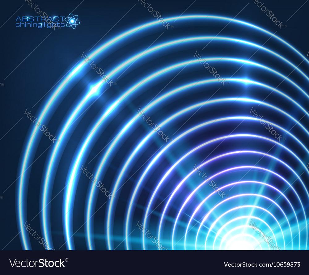 Blue shining concentric circles abstract