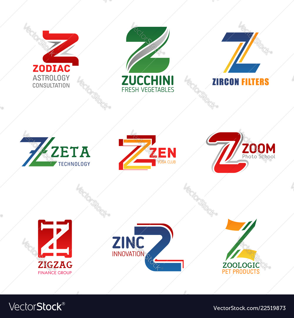 Business identity icons with letter z