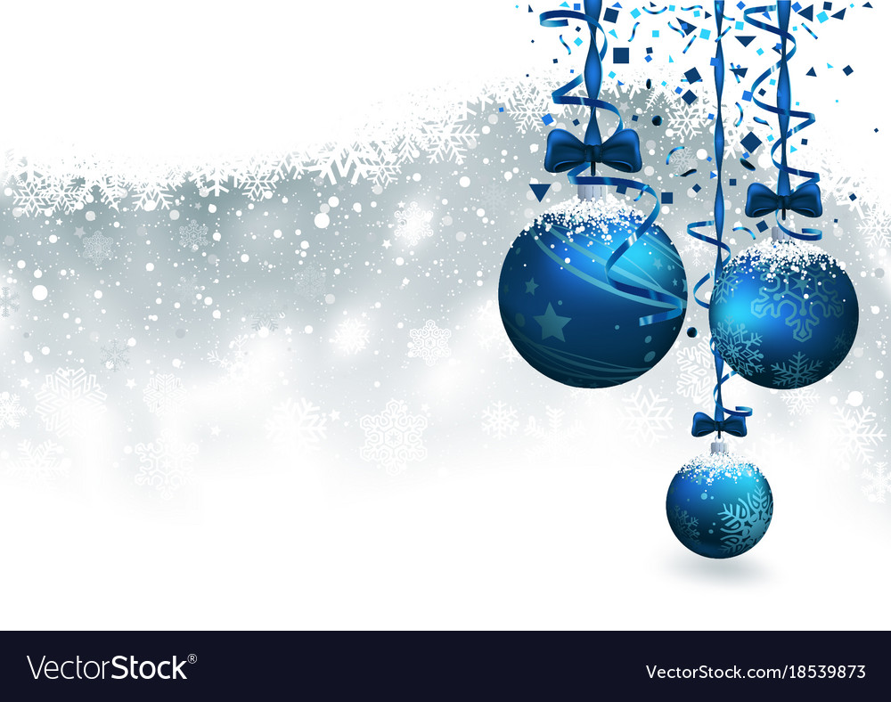 Christmas background with blue baubles vector image
