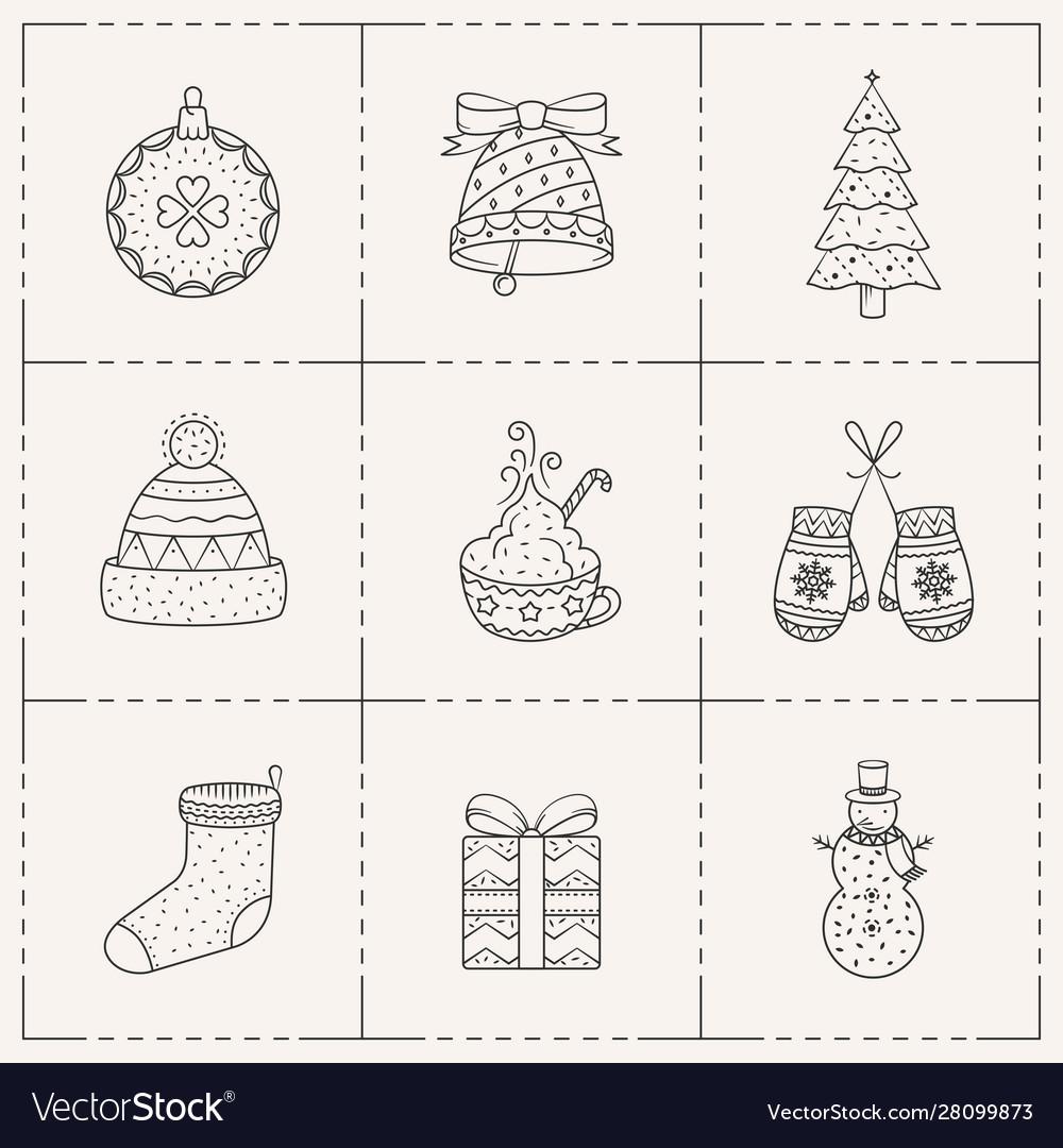 Christmas icons set line art style
