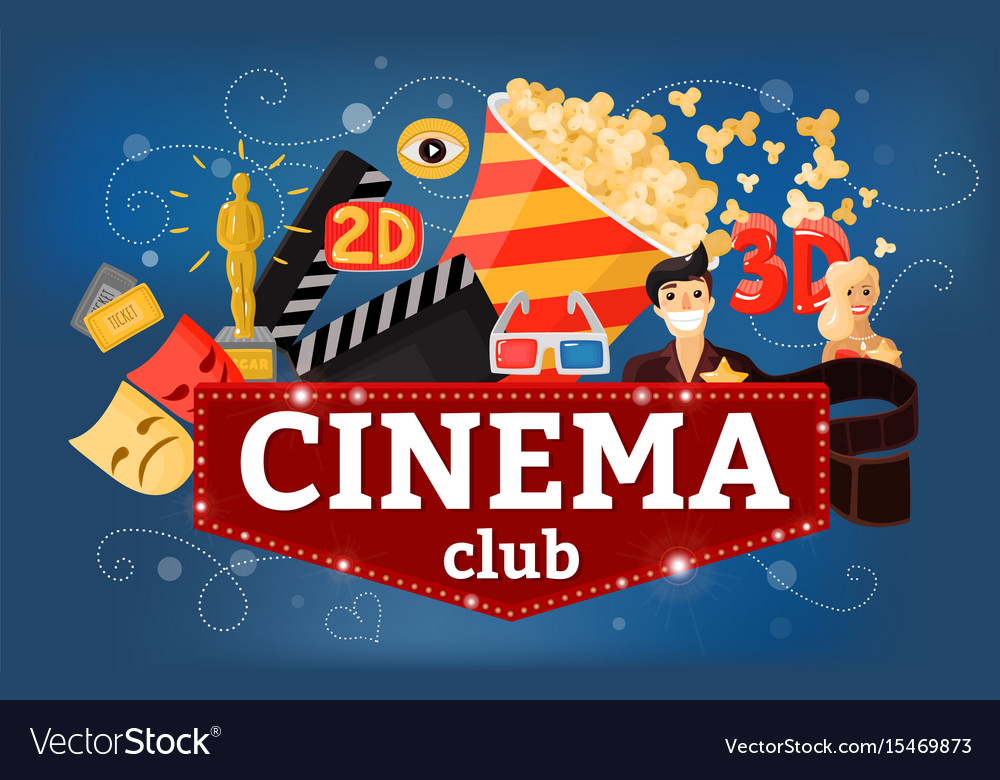 Cinema theatre club background vector image