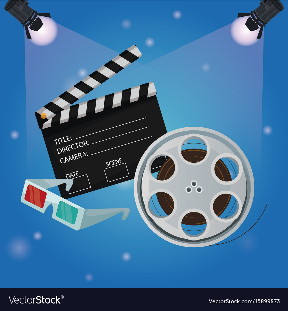 Color background spotlights with film reel vector image