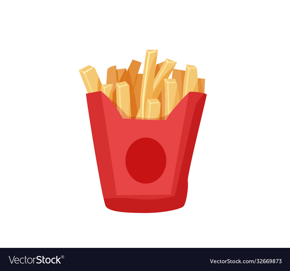 Delicious french fries in a red paper box isolated