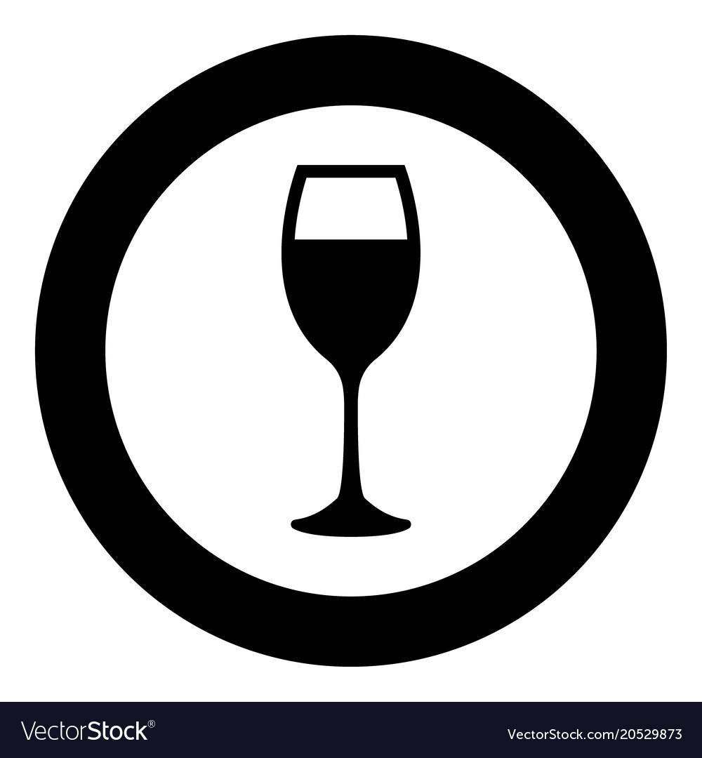 Glass of wine icon black color in circle