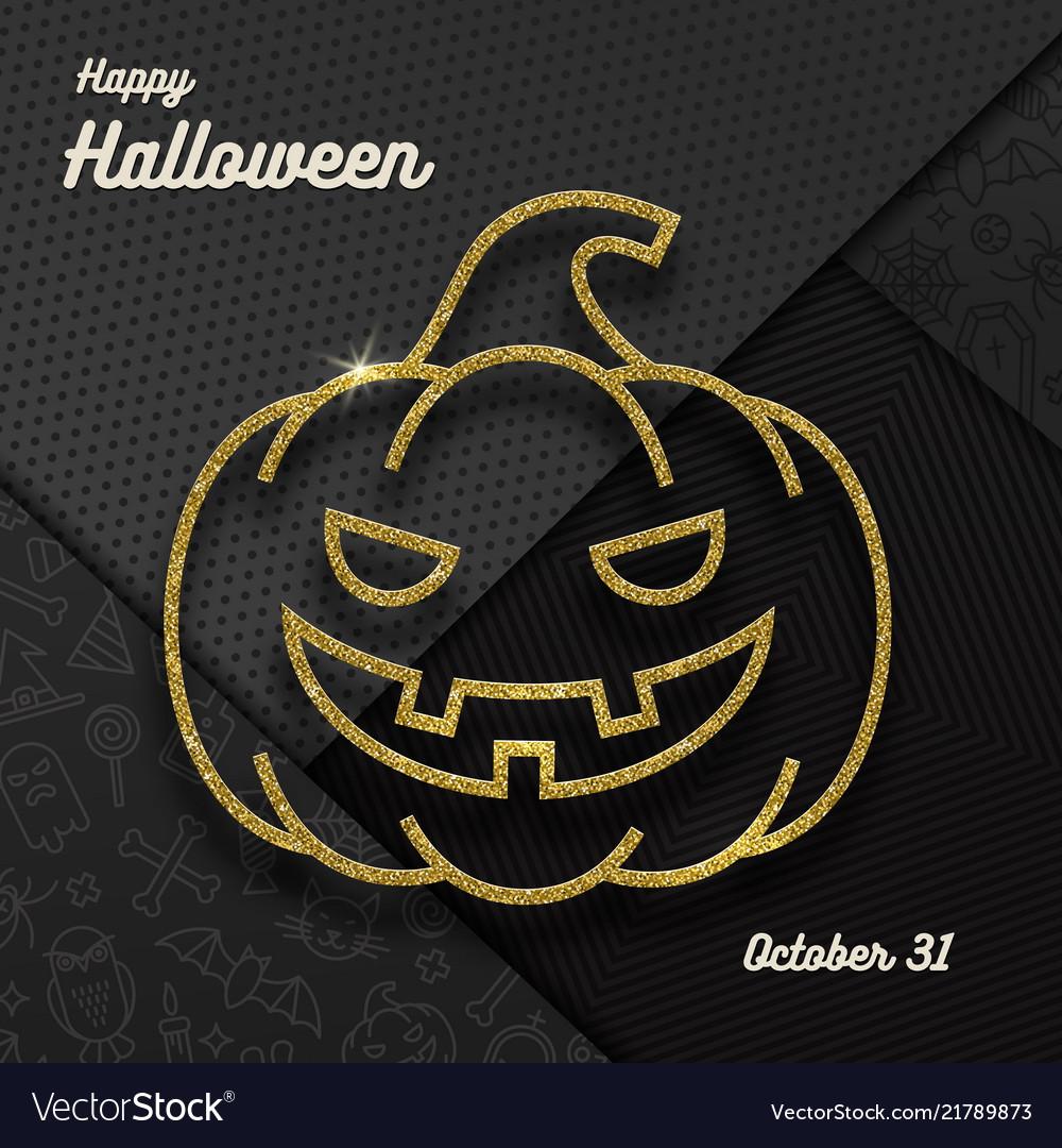 Glitter gold contour a jack-o-lantern pumpkin
