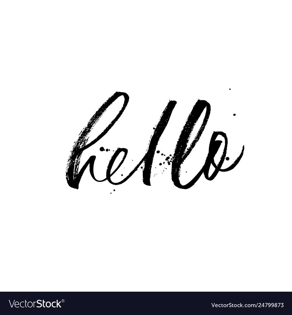 Hello phrase modern brush calligraphy