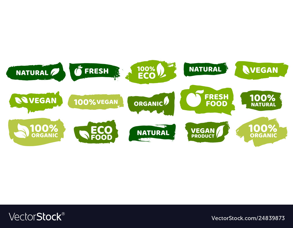 Organic food labels fresh eco vegetarian products