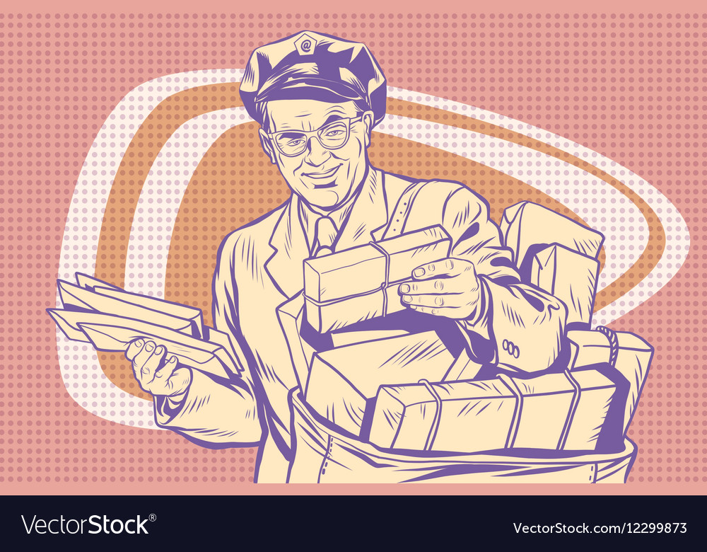 Retro postman delivering letters vector image
