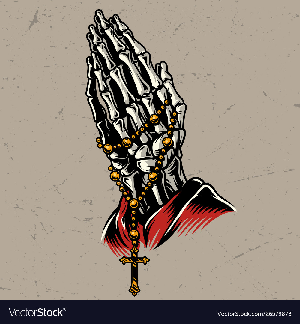 Skeleton praying hands with rosary