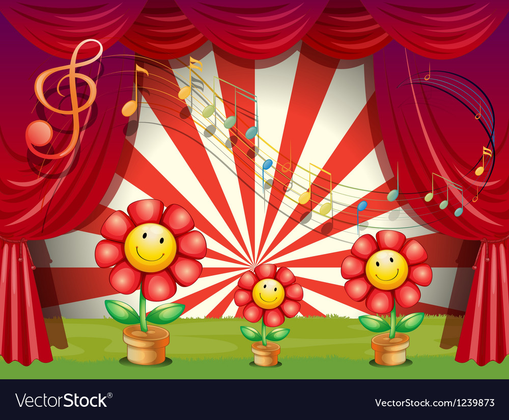 The colorful flowers with musical notes at the Vector Image