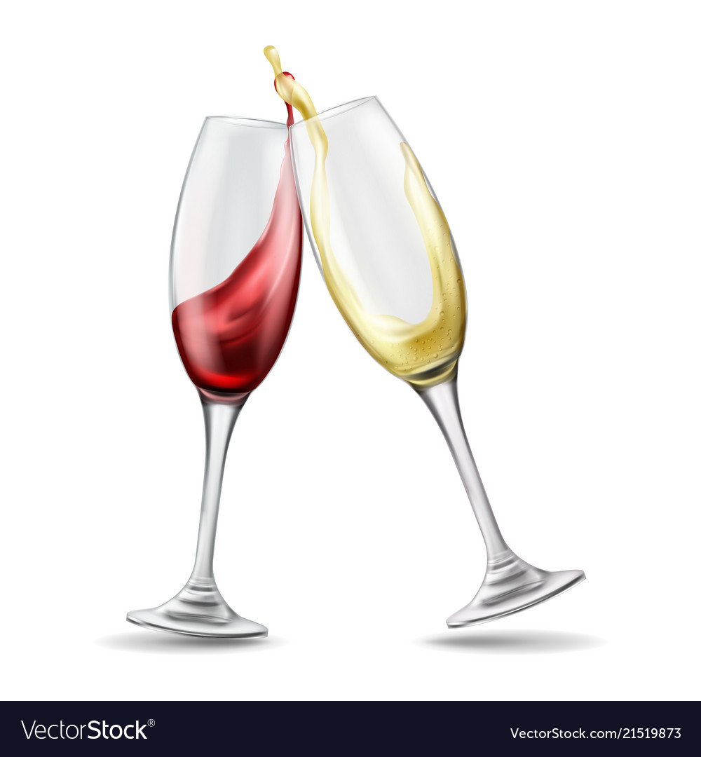 two wine glasses with red and white wine in vector image. Black Bedroom Furniture Sets. Home Design Ideas