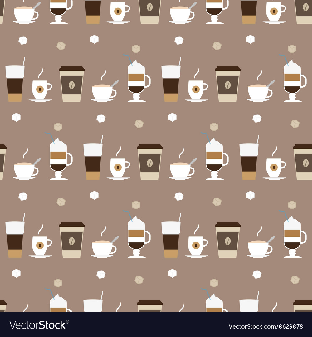 Coffee cups icons seamless pattern